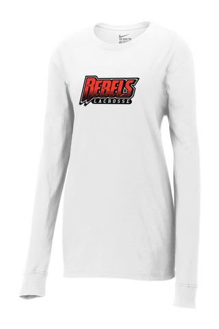 Rebels Lacrosse Nike Ladies White Core Cotton Long Sleeve Tee