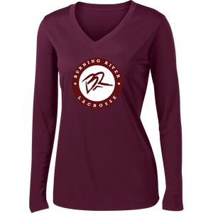 Burning River Women's Maroon Long Sleeve Performance Shirt