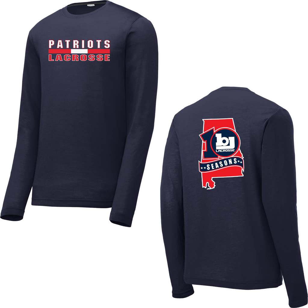 Bob Jones Lacrosse 10th Season Navy Long Sleeve CottonTouch Performance Shirt