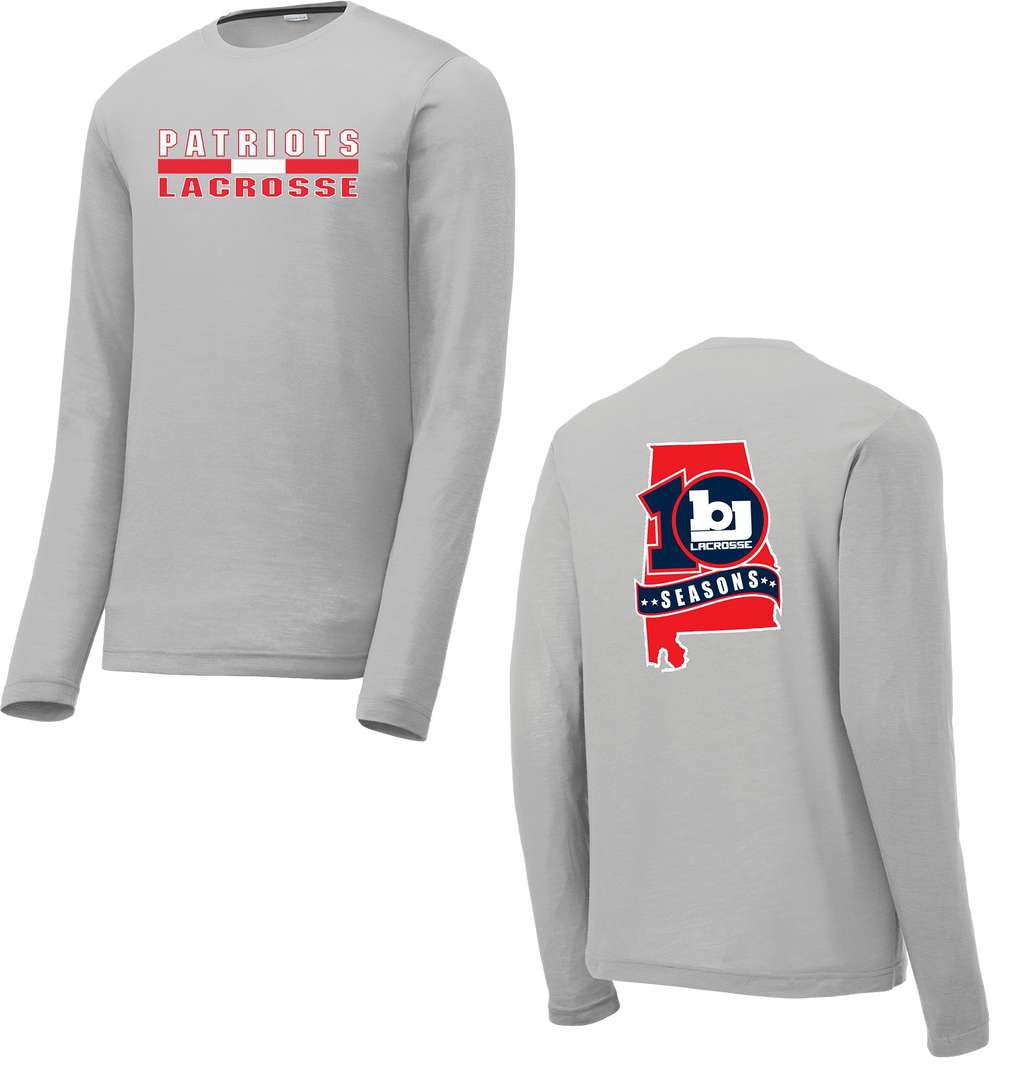 Bob Jones Lacrosse 10th Season Silver Long Sleeve CottonTouch Performance Shirt