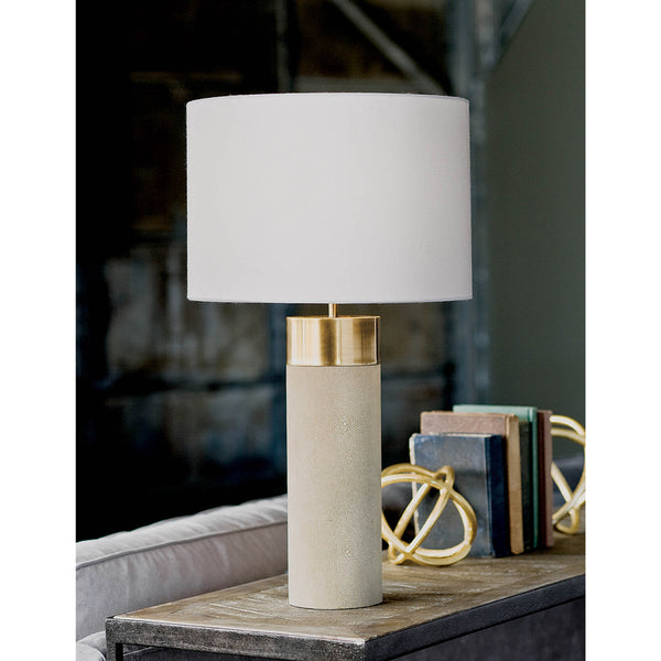 Harlow Ivory Grey Shagreen Cylinder Table Lamp 13-1178 - FLC Select