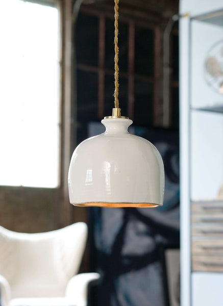 Bianca Ceramic Pendant (Gloss White and Gold) 16-1103