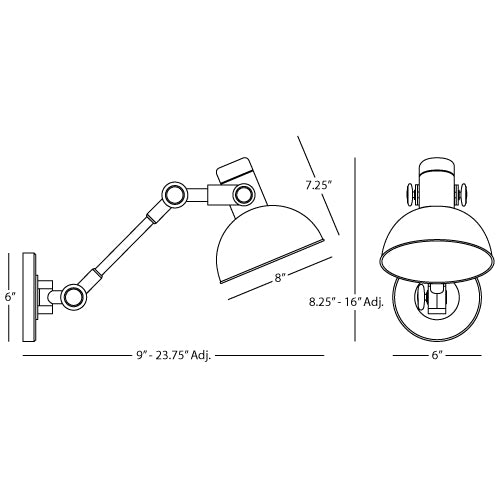 Rico Espinet Scout Adjustable Swing Arm Wall Sconce 248 - FLC Select
