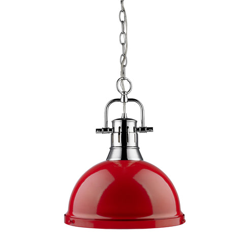 Golden Lighting 1 Light Pendant with Chain in Chrome with Red Shade 3602-L-CH-RD OPEN BOX - FLC Select