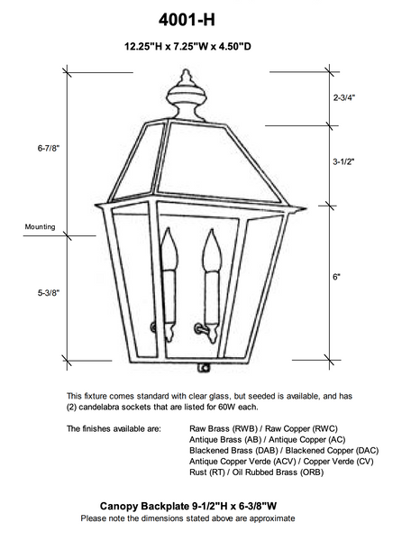 "4001-H Essex Small 7.25""W Outdoor Pocket Wall Lantern with Glass Top"