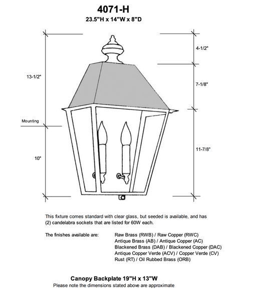 4071-H Essex Extra Large Outdoor Pocket Wall Lantern with Metal Top
