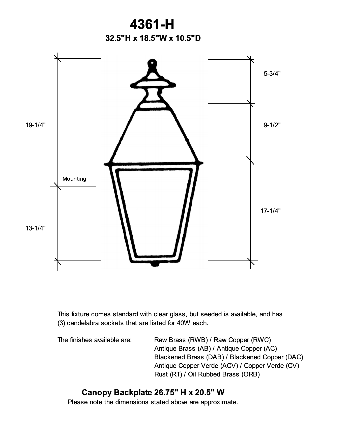 "4361-H Essex Extra Large 18.5""W Outdoor Wall Lantern"