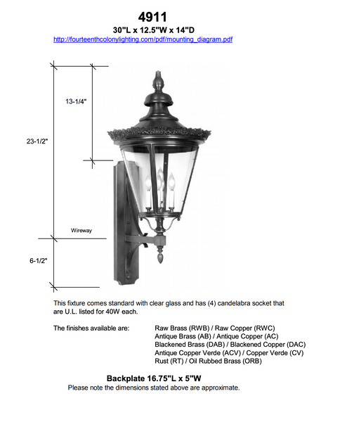 "4911 Crown Copenhagen Small 12.5""W Outdoor Wall Lantern"