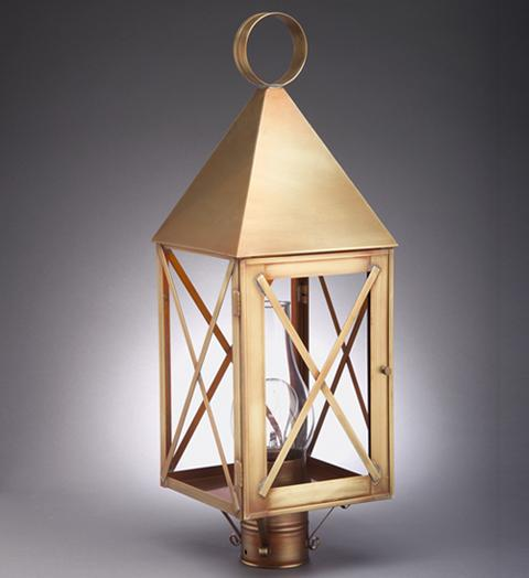 York Pyramid Top X Bars Outdoor Post Lantern 7053 - FLC Select