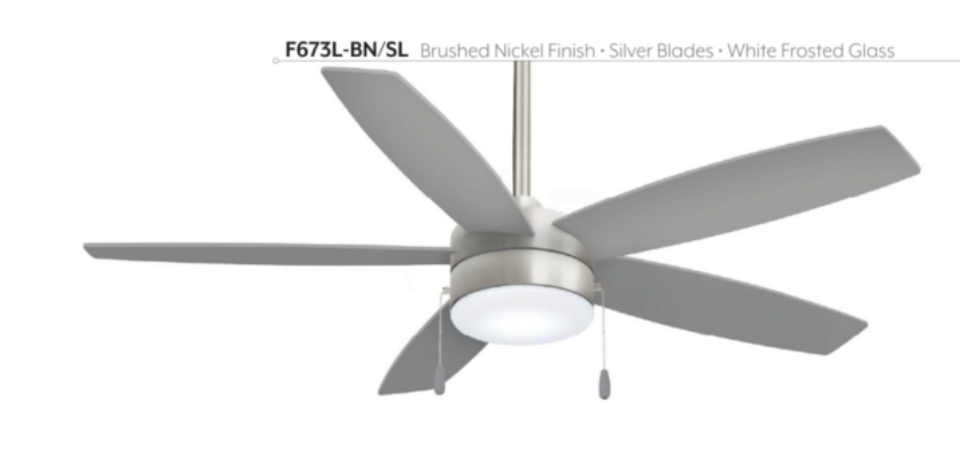 "Airetor 52"" Interior Pull Chain Fan with LED Light, F673L"