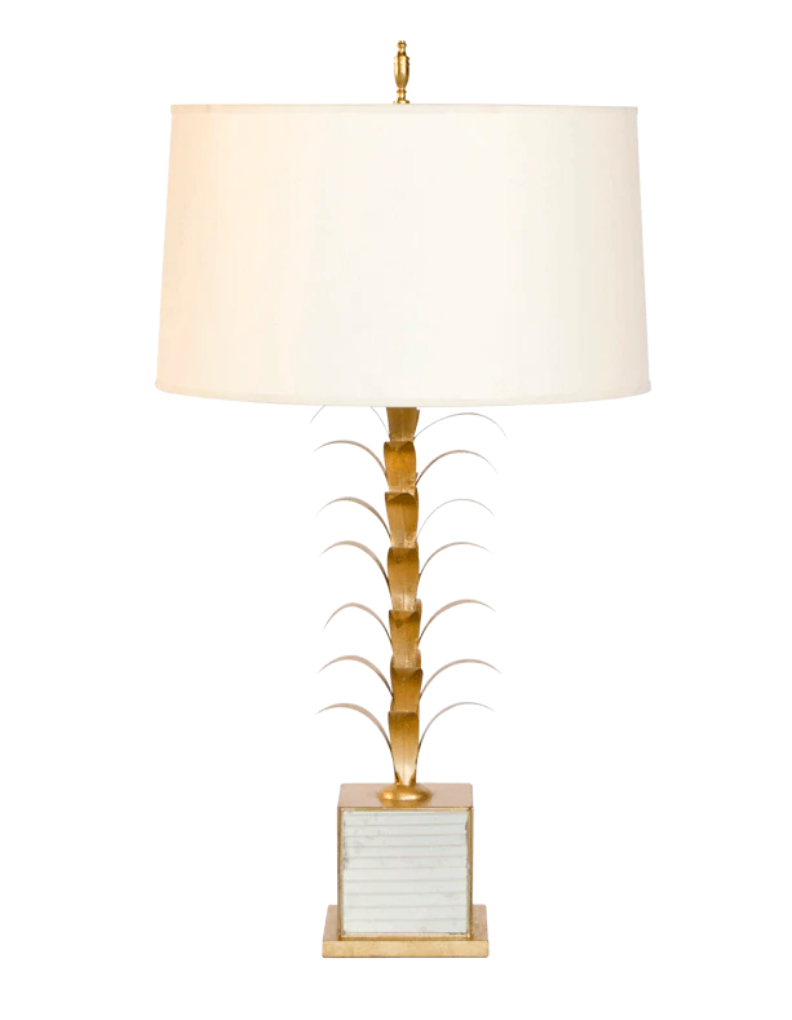 Boca Chica Mirrored Buffet Lamp with Parchment Paper Shade