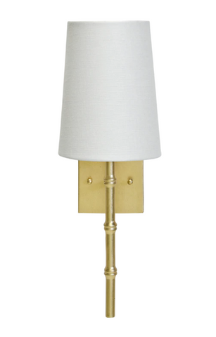 Molly Sconce with Bamboo Detail and a White Linen Shade - FLC Select