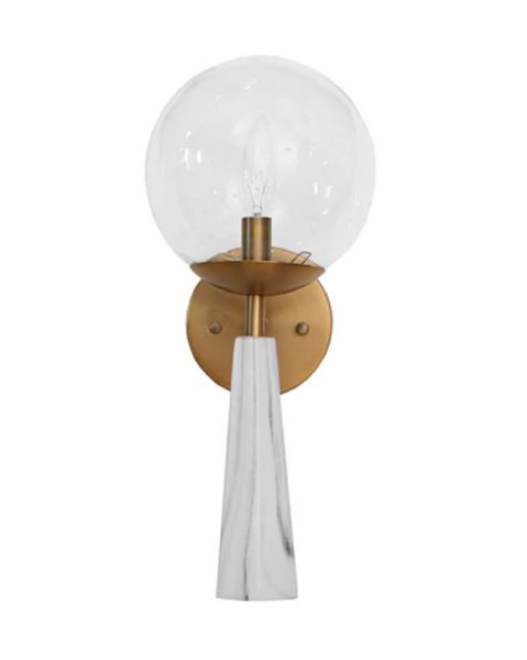 Shelly Faux Marble Sconce with Clear Globe - FLC Select