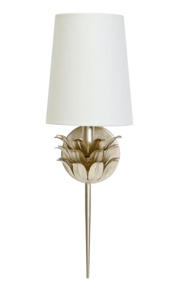 Delilah One Arm Sconce with 3 Layer Leaf Motif and White Linen Shade - FLC Select