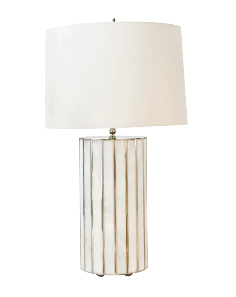 "Gordo Large Faceted White Glass Table Lamp with 17"" Diam. Parchment Paper Shade - FLC Select"
