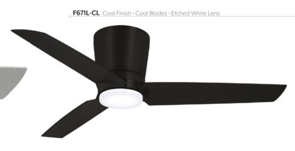 "Pure 48"" Interior Hugger Fan with LED Light, F671L"