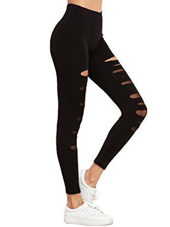 Rockz Women's Legging Mesh Insert Ripped Tights Yoga Slim Pants