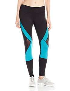 PL Movement by Pink Lotus Women's Athletic Legging With Mesh Breezy Inset and Two Tone Color Block
