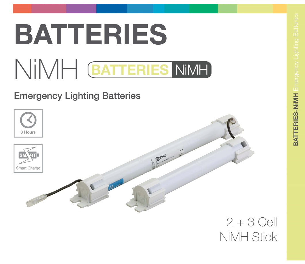 NiMH 5 Cell (2+3) 6.0V Twin Stick Emergency Lighting Battery