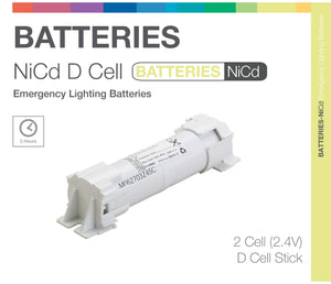 NiCd D 2 Cell 2.4V Stick Emergency Lighting Battery