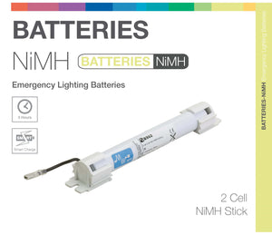 NiMH 2 Cell 2.4V Stick Emergency Lighting Battery