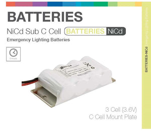 """Sub C"" SIDE BY SIDE 3 Cell (NiCd) Emergency Lighting Batteries"