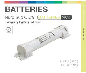 """Sub C"" STICKS 3 Cell (NiCd) Emergency Lighting Batteries"
