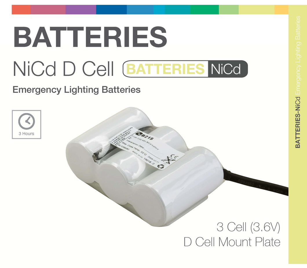 NiCd D 3 Cell 3.6V Side by Side (Plate) Emergency Lighting Battery