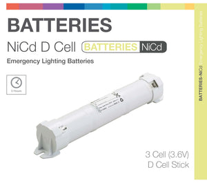 NiCd D 3 Cell 3.6V Stick Emergency Lighting Battery