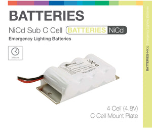 """Sub C"" SIDE BY SIDE 4 Cell (NiCd) Emergency Lighting Batteries"