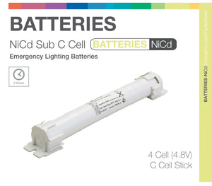 """Sub C"" STICKS 4 Cell (NiCd) Emergency Lighting Batteries"