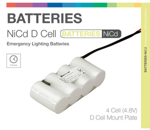 NiCd D 4 Cell 4.8V Side by Side (Plate) Emergency Lighting Battery