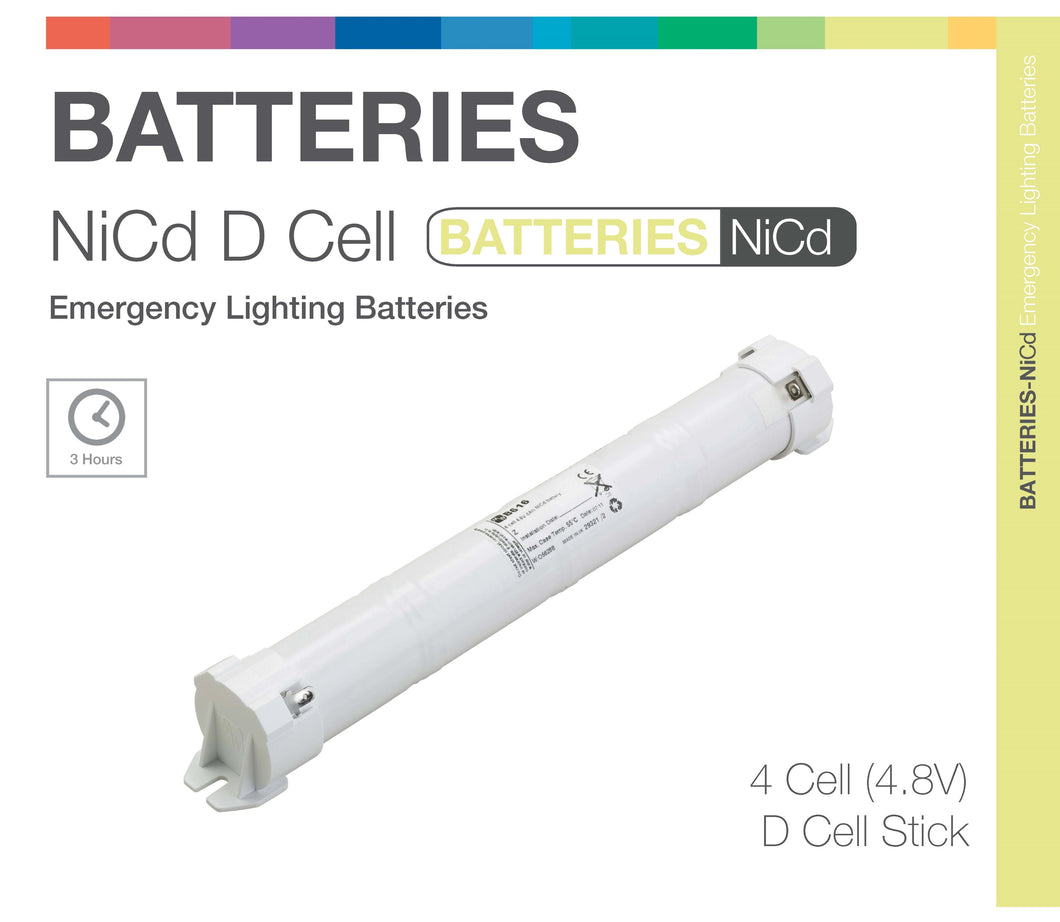 NiCd D 4 Cell 4.8V Stick Emergency Lighting Battery