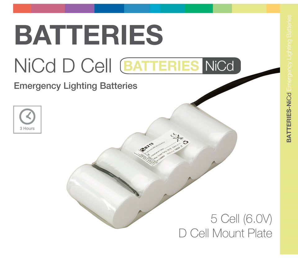 NiCd D 5 Cell 6.0V Side by Side (Plate) Emergency Lighting Battery