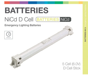 NiCd D 5 Cell 6.0V Stick Emergency Lighting Battery