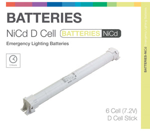NiCd D 6 Cell 7.2V Stick Emergency Lighting Battery