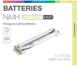 NiMH 6 Cell (3+3) 7.2V Twin Stick Emergency Lighting Battery