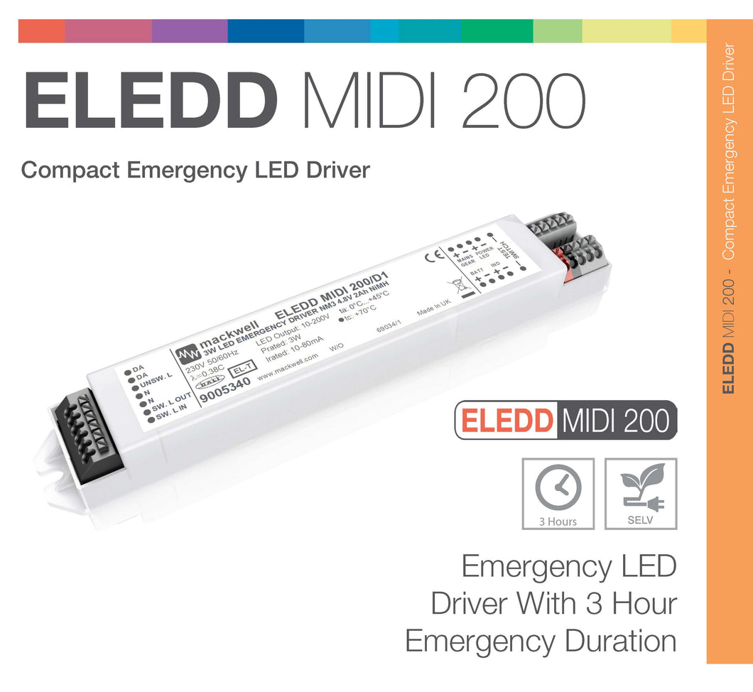 Emergency LED Driver MIDI 200V 3W 3hr NiCd