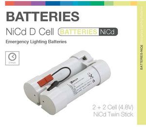 NiCd D 4 Cell (2+2) 4.8V Twin Stick Emergency Lighting Battery