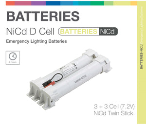 NiCd D 6 Cell (3+3) 7.2V Twin Stick Emergency Lighting Battery