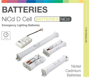 NiCd D 5 Cell (2+3) 6.0V Twin Stick Emergency Lighting Battery