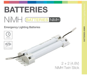 NiMH 4 Cell (2+2) 4.8V Twin Stick Emergency Lighting Battery