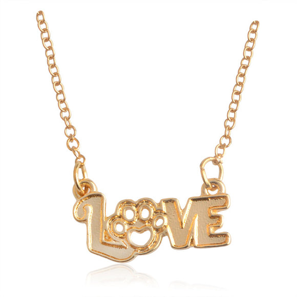 Gold LOVE Paw Print Pendant Necklace