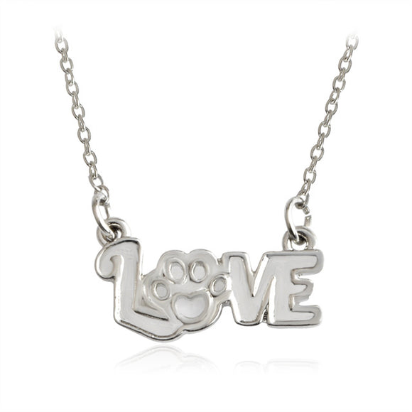 Silver LOVE Paw Print Pendant Necklace