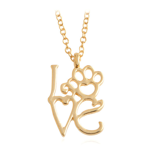 Gold LOVE Paw Pendant Necklace