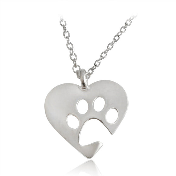Silver Love & Paw Pendant Necklace