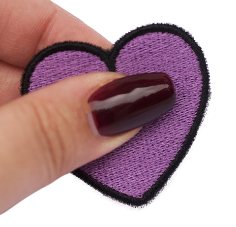 merrowed over locked edge embroidered patch black heart pins wholesale patches