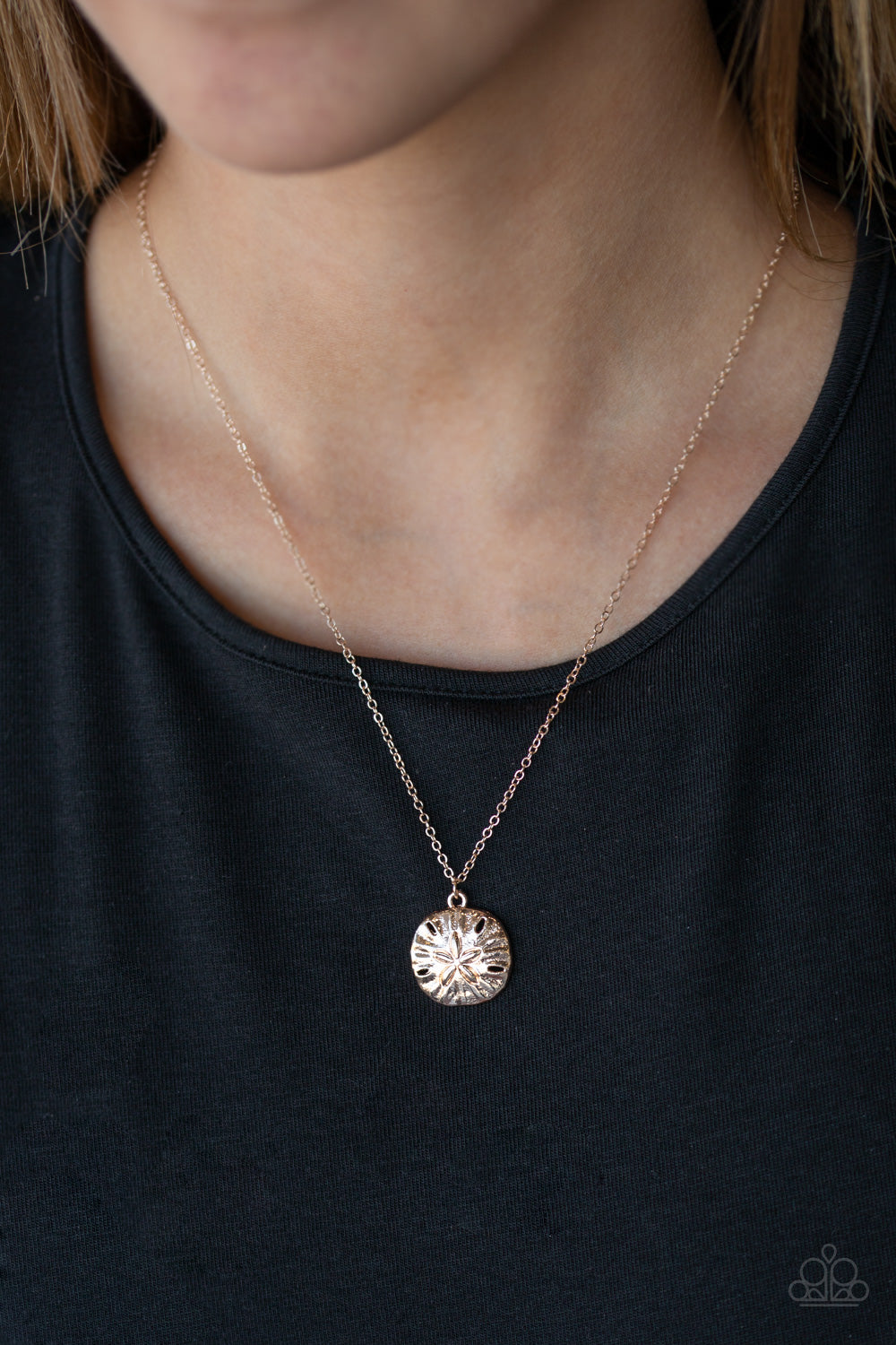 Sand Dollar Shores Rose Gold Necklace Paparazzi Accessories Chic Shimmer