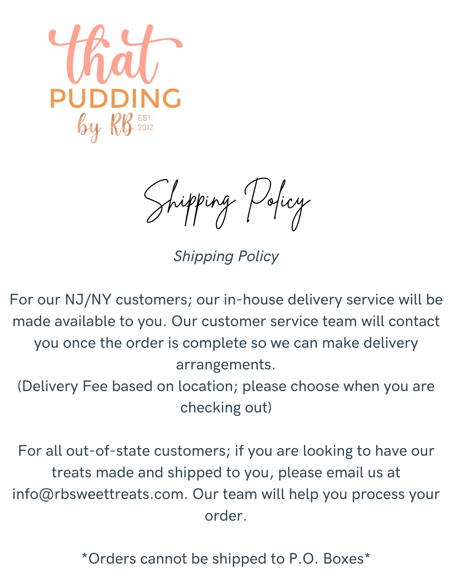 That Pudding Shipping Policy