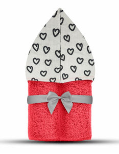 Hearts Hooded Towel Coral